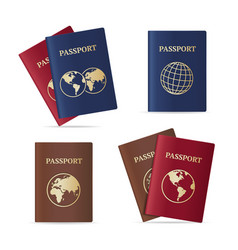 realistic international passport set vector image
