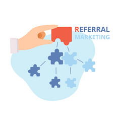referral marketing hand putting puzzle pieces vector image
