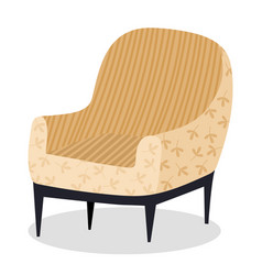 Retro cream colored armchair living room vector