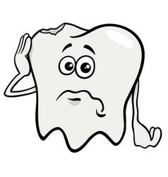 Sad tooth cartoon character with cavity vector