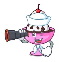 Sailor with binocular ice cream sundae mascot vector