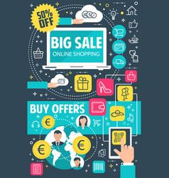 sale offer flat banner for online shopping concept vector image
