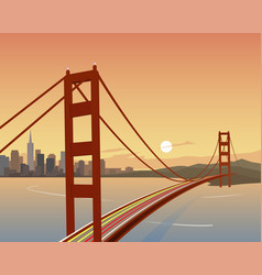 San francisco and golden gate bridge scene vector