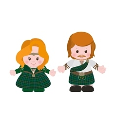 Scots in national dress tartan vector image