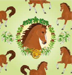 Seamless texture hestnut Horse head of stallion vector