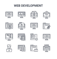 Set 16 web development concept line icons vector