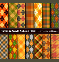 Set autumn tartan and argyle seamless pattern vector