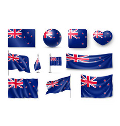 Set new zealand realistic flags banners banners vector