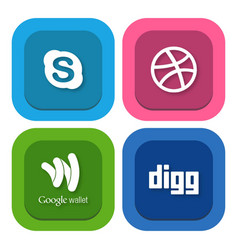 Set of flat design sale stickers of skype dribble vector