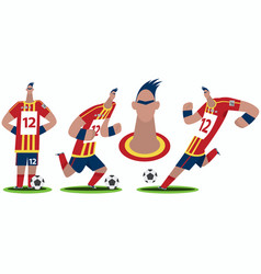 Set of funny cartoon soccer player vector