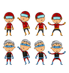 set of kids wearing superhero costumes vector image