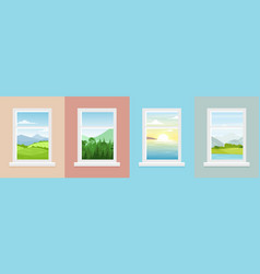 set of windows with different vector image