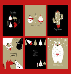 set retro funny christmas cards vector image