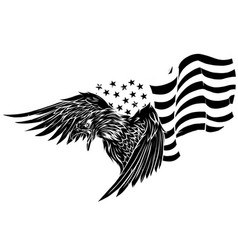 Silhouette eagle against usa flag and white vector