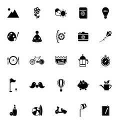 Slow life activity icons on white background vector