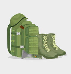 soldier war equipment icons vector image
