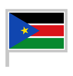 south sudan flag on flagpole icon vector image