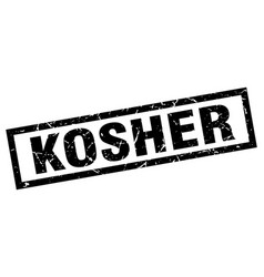 Square grunge black kosher stamp vector