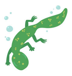 Swimming lizard icon cartoon style vector