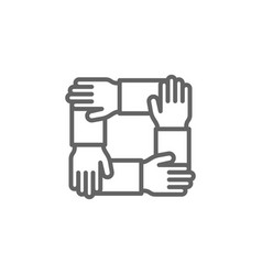 Teamwork hands outline icon elements business vector