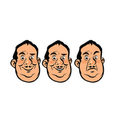 Three emotions head fat vector
