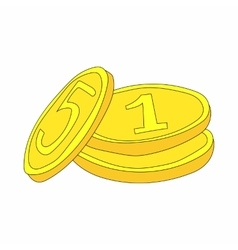 Three gold coins icon in cartoon style vector