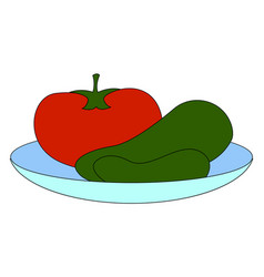 tomato and cucumbers on plate on white background vector image