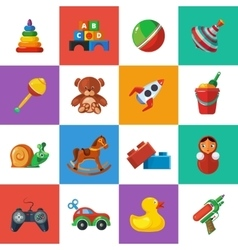 Toys icons for kids isolate on white background vector image