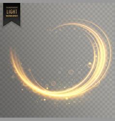Transparent swirl golden light effect background vector