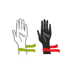 two hands of voting people vector image