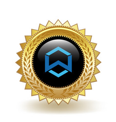 Wanchain cryptocurrency coin gold badge vector