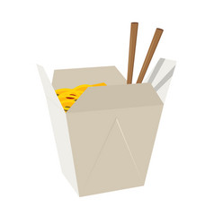 wok box icon fastfood isolated sweet food and vector image