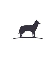 Wolf silhouette wild animal icon design vector