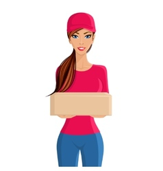 Woman delivery person portrait vector image vector image