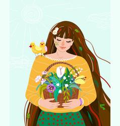 woman like spring season beauty springtime flat vector image