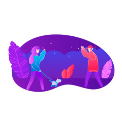 woman with dog waving hand to man wearing mask vector image
