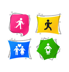women pregnancy icon human running symbol vector image