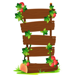 wooden boards and strawberries vector image