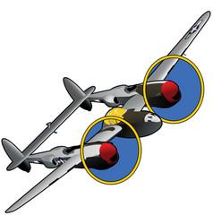 world war ii american fighter airplane vector image