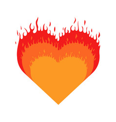 burning heart heart with fire isolated icon on vector image