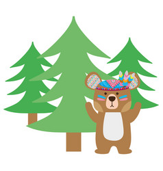 Colorful ethnic bear animal with pine trees vector