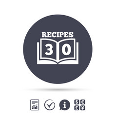 Cookbook sign icon 30 recipes book symbol vector