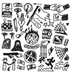 Crime violence - doodles set vector image