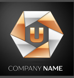 letter u logo symbol in the colorful hexagon on vector image