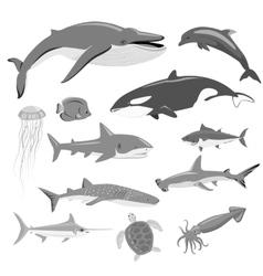 Marine Fauna Set of Aquatic Animals vector image vector image