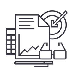 marketing analytics line icon sign vector image
