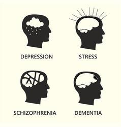 mental disease icon set vector image
