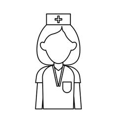 professional nurse hat uniform medical outline vector image vector image