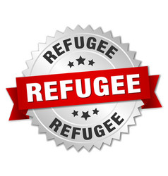 Refugee round isolated silver badge vector
