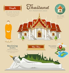Temple and reclining Buddha with monk vector image vector image
